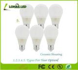3W 5W 7W E26 E27 Luz da lâmpada LED de iluminação de cerâmica