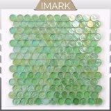 Светло-зеленый Пенни раунда стеклянной мозаики в душевой плитки