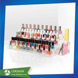 Esmalte de uñas maquillaje de acrílico transparente mostrar, a la moda de esmalte de uñas de plástico para rack de pared