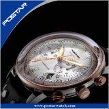 Aço inoxidável arqueada especializados relógio de pulso banda em pele genuína