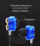 Fone de ouvido estereofónico do fone de ouvido do telefone móvel de 4 altofalantes com microfone