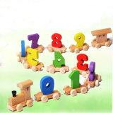 Brinquedos de madeira dos blocos de apartamentos do trem dos números do presente do Natal das crianças para meninos dos miúdos