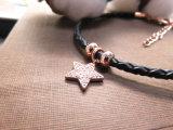 Rosen-Gold überzogener Stern-Anhänger mit Zircon-Stein-Leder-Armband