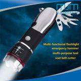 Het Multifunctionele Flitslicht van de Legering van het aluminium met de Hamer van de Noodsituatie voor noodgevallen