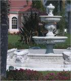 돌 말 동상 백색 대리석 3 층 정원 분수