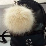 fascino lanuginoso morbido Keychain della sfera dell'anello portachiavi del Pompom della pelliccia del Faux di 12cm