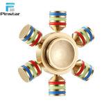 Seis alas aliviar el estrés Fidget juguetes de latón Hexagonal mano Spinner