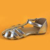 Женщин Silver Ankel ремешок низкой пяткой квартир обувь Босоножки для леди