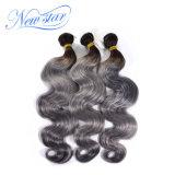 Ombre schwarze Wurzel-brasilianisches Jungfrau-Haar-Karosserien-Wellen-Silber-Haar