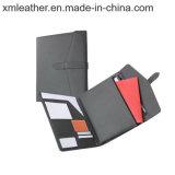Dreifachgefaltetes Konferenz-Faltblatt-Leder-Portefeuille mit Reißverschluss-Beutel