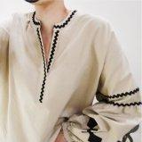 도매 여자 칼라가 없는 수를 놓은 의복 t-셔츠