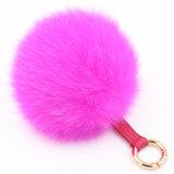 Sfera popolare Keychain della pelliccia del pendente 10-15cm di Poms della pelliccia di Fox
