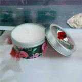 Vela perfumada de la cera de la soja del tarro del estaño con diseño profesional