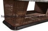 Patio extérieur / jardin //& en rotin Table aluminium avec du marbre Tabletop HS7602dt