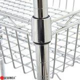 Chariot à étagère de cuisine en métal de rangées de DIY 3 mini avec le panier