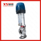 Válvula de borboleta pneumática do produto comestível de aço inoxidável com tampão do controle