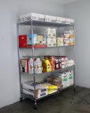 調節可能な4つの層のクロム金属のステンレス鋼ワイヤー棚のトロリーレストランの台所装置の食糧記憶ラック棚付け