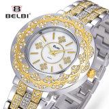 Reloj de lujo del cuarzo del acero inoxidable de las señoras grandes de la dial del reloj de Belbi
