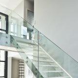 As escadas modernas Home decoram a escadaria de vidro branca das etapas do vidro dos trilhos