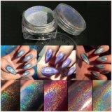 Поставщик хромировочного красителя яркиев блесков ногтя порошка зеркала серебряного голографического глянцеватого порошка лазера волшебный