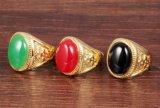Ring van de Steen van het Koper van de fabriek de In het groot Regelbare 18K Goud Geplateerde Zwarte