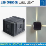 Nuevo tipo IP65 moderno negro impermeable al aire libre Shell 4 plaza de la SIDE LED Lampara de pared 12W