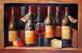 Pittura a olio classica della bottiglia di vino per la decorazione domestica