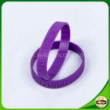 Neue Entwurfs-Farbe gefüllter SilikonWristband mit geprägtem Firmenzeichen