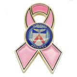 Pin fait sur commande de revers de bande de rose de Cancer d'émail en métal