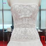 Vestido nupcial de perolização pesado do corpete de China com o vestido de casamento do trem da varredura