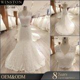 新しい2018玉を付けられたウェディングドレスの人魚のレースのアップリケの花嫁の服の背部が開いた婚礼衣裳