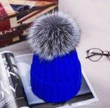 Стильные связанные Earflat реальные шлемы младенца Pompom Beanies/POM POM шерсти