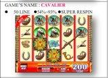 El Cavalier-50 Respin&#160 Línea-Estupendo; Máquina de juego de fichas de la máquina de juego de la máquina de juego de la ranura