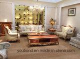 Mano de madera sólida del color oscuro 0050 tallada rastreando el diseño en cuero del oro o sofá clásico de la tela