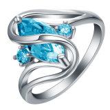 De zwarte Gouden Blauwe Ovale Gekruiste Ringen van Zircon CZ voor Vrouwen