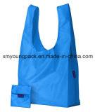 Bleu étanche réutilisable personnalisée Sacs de nylon pliable pour le shopping