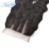 3 parti del Virgin dei capelli di chiusura ondulata allentata brasiliana del merletto