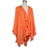 Señora Fashion Acrílico mantón de punto con Volantes Trim ( YKY4140-1 )