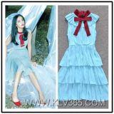 Американским юбка Bowknot повелительниц способа безрукавный длинним наслоенная платьем