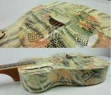 Guitare acoustique de Dobro de corps en laiton de peau d'étiquette d'Aiersi