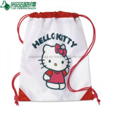 Adorável Bonitinha Branco Rosa Cordão de Caracteres de sacos de volta Packs Bolsa Cinch