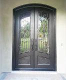 Porte glacée par double fait sur commande de fer travaillé de dessus rond pour la Chambre