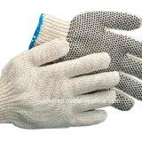 Пунктирной хлопок перчатки стороны перчатки с ПВХ точками