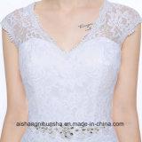 Платье венчания шнурка с V-Шеей a - линией мантией венчания Пол-Длины изготовленный на заказ