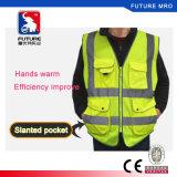 Da segurança elevada da visibilidade do poliéster de 5 bolsos veste reflexiva Ce/Class 2 com Zipper
