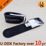 Mecanismo impulsor de cuero de encargo caliente Pendrive (YT-5116) del flash del USB de la insignia que acuña