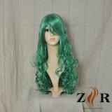 녹색 긴 합성 머리 정면 레이스 가발