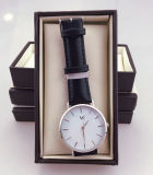 Het eenvoudige Horloge van het van het Bedrijfs geval van het Roestvrij staal van het Ontwerp Dunne Horloge van de Band van het Leer van het Water van de Mens Bestand