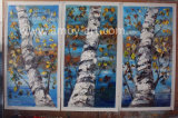 Handmade Blue Birch Tree peintures d'huile 3PCS/Set Group peintures
