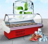 O peixe Refrigerated vidro curvado encaixota o refrigerador da caixa da salada